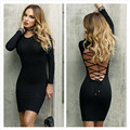 Cfanny 2017 nueva otoño invierno dress mujeres negro lace up volver de manga larga de bodycon mini dress sexy party club dress vendaje dress