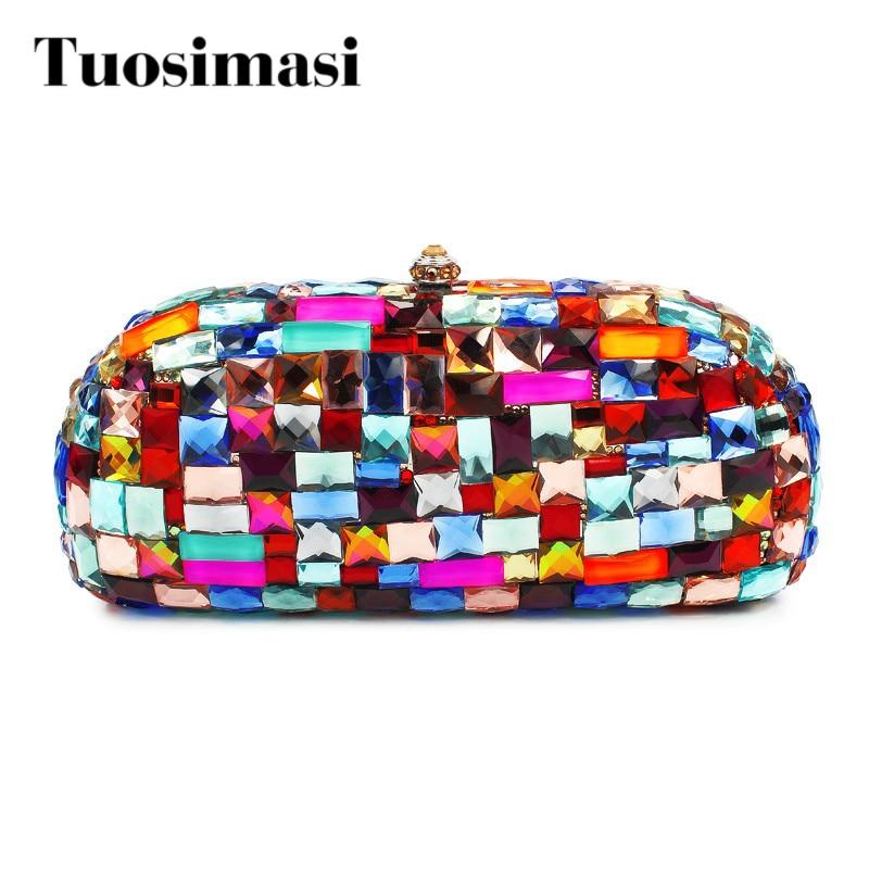 Colorful big diamond crystal clutch bag women hand bags brand bag