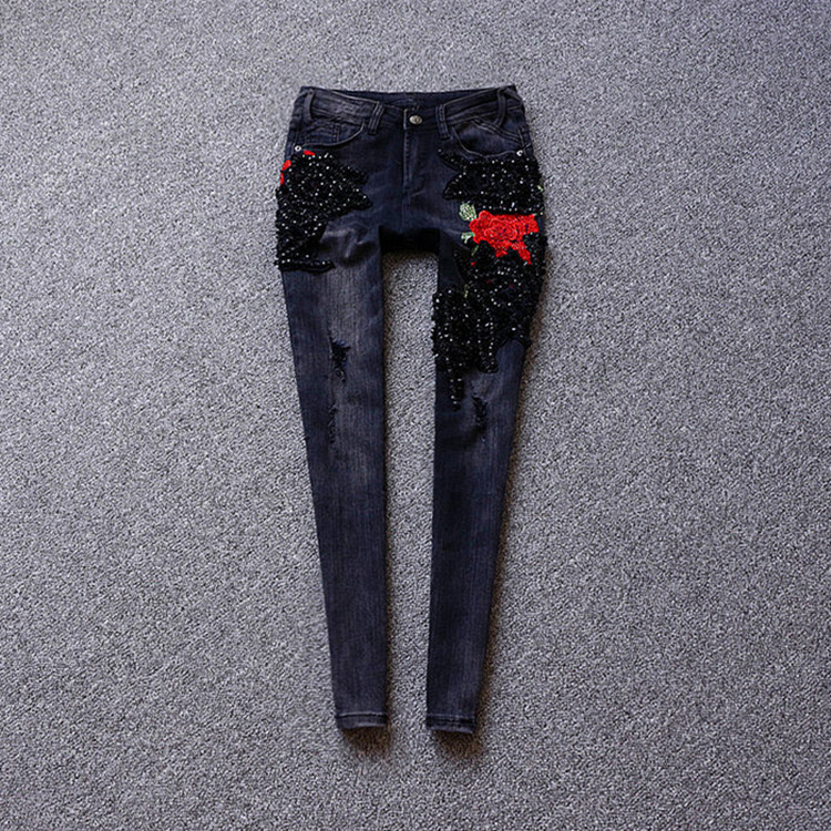 2017 autumn and winter embroidery broken holes black jeans, nail beads ankle-length slim feet pants, sequins jeans trousers