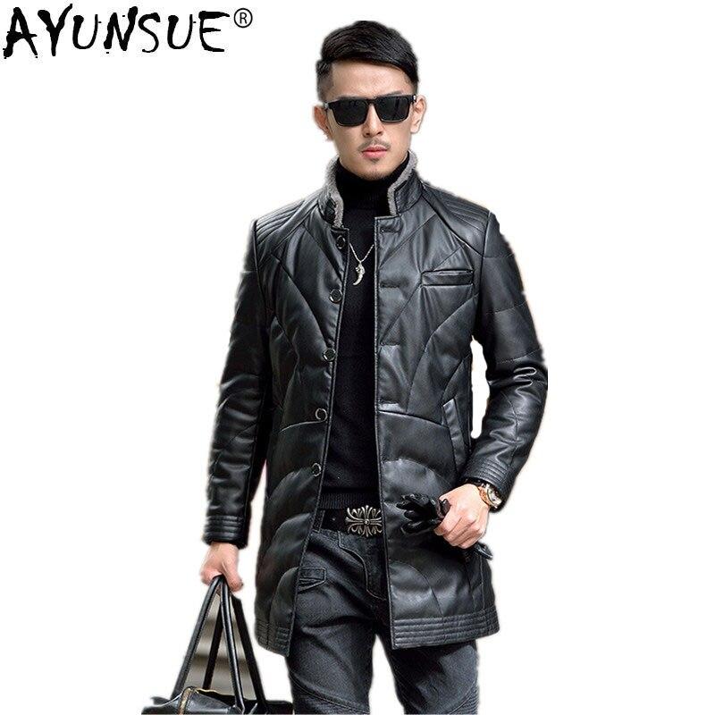 Ayunsue jaqueta de couro masculina 90% pato branco para baixo jaqueta de inverno casaco de pele carneiro segundo layersheep jaquetas hn5524 my749