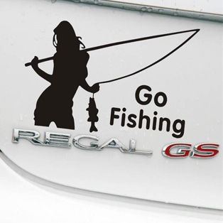 Pegatina Girl Go Fishing Decal Angling Tackle Shop Hollow Sticker Fish Boat Car Window Vinyl Decal Funny Poster Motorcycle