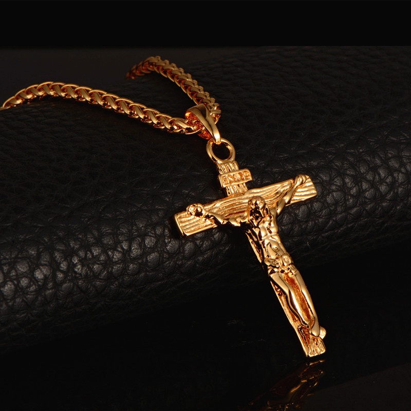 MCSAYS Hip hop Fashion Jewelry Cross INRI Jesus Pendant Wheat Chain Necklace Trendy Charm Accessory Men's Gift Drop shippings