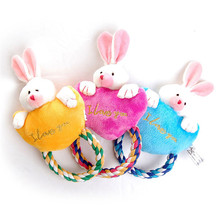 Lovely Rabbit Pets Dog Toy Plush Chewing Squeaky Toy For Cats Puppy Braid Cotton Rope Three Colors