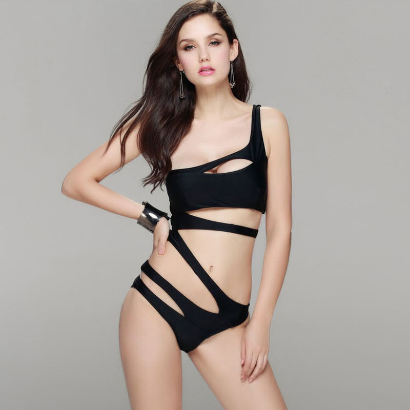 2017 Bandage Brand Swimming Suit Solid Color Swimwear Women Swimsuit Backless Sexy Bathing