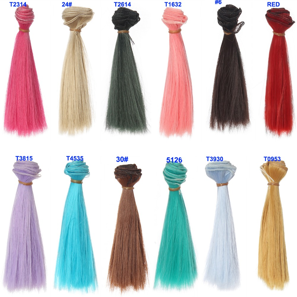 15cm Length 1 Piece  Pink Green Blue Red White Color Thick Bjd Wigs Doll Hair For Barbie Doll For  Monster High Doll