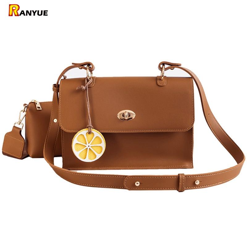 цена на Fashion Lock Ladies Hand Bags Set For Women 2018 Brown Black Small Bag Women Shoulder Bag+Pu Leather Messenger Crossbody Bolsos