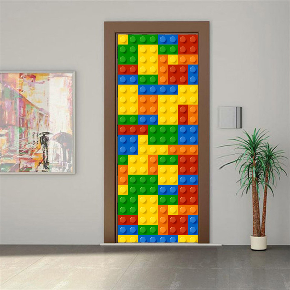 3D Creative Door Stickers For Kids Room Cartoon Dinosaur Home Decor Decal Lego Bricks Poster Peeping Children Bedroom Wallpaper