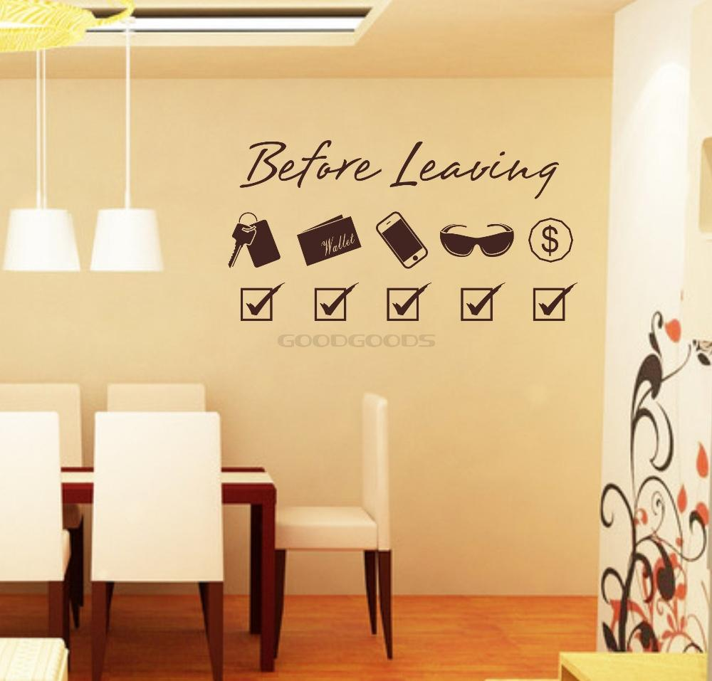 New 2015 DIY Door stickers Before Leaving Wall Sticker Mural Home ...