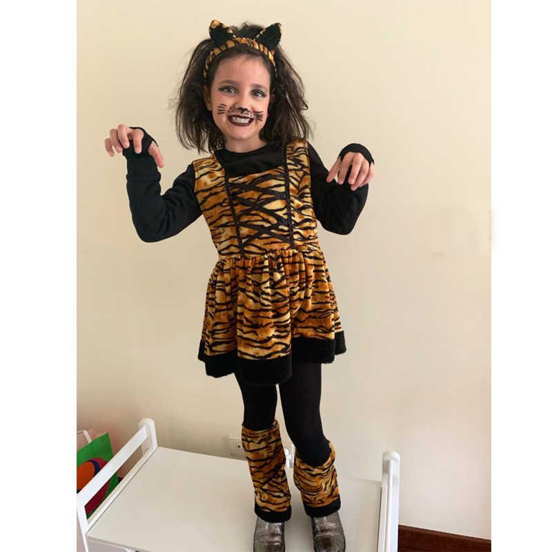 Eraspooky קרנבל תחפושות לילדים חמוד ראש להקת ילדים קוספליי יפה ליל כל הקדושים תלבושות טייגר תלבושות שמלה עבור בנות