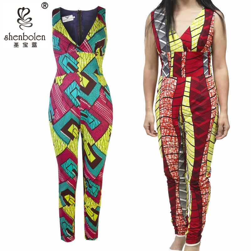 2018 Africa Ankara Style Jumpsuit For Women Fashion Jumpers Plus