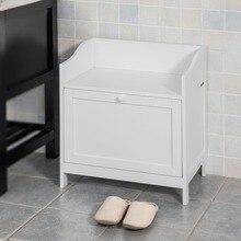 SoBuy FSR51-W Bathroom Cabinet Laundry Bin Toy Box Chest Storage Bench