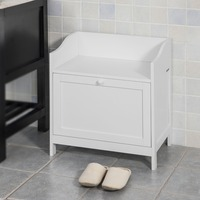 SoBuy FSR51 W, Bathroom Cabinet Laundry Bin, Toy Box Chest Storage Bench