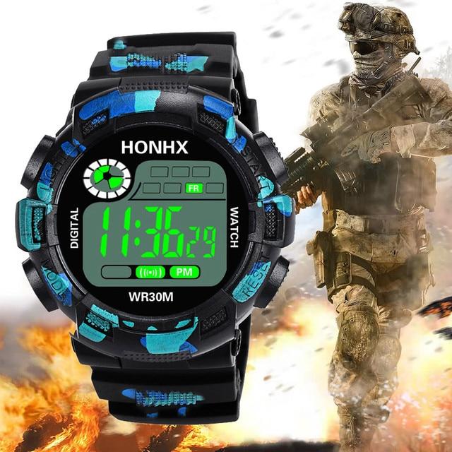 510cca554e38 De Lujo para hombre reloj Digital militar ejército deporte LED reloj de  pulsera correa de silicona