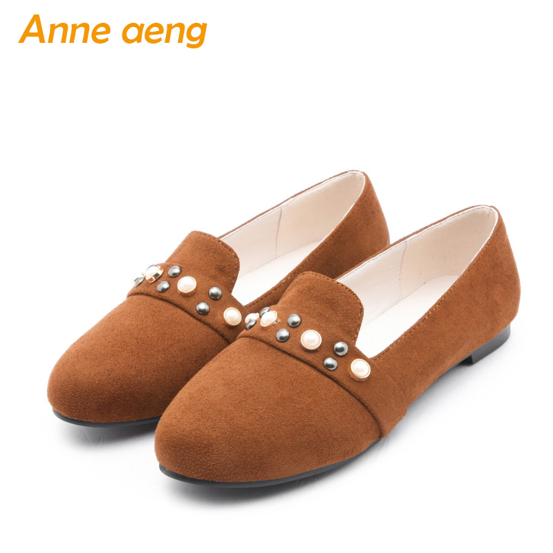 women flats autumn loafer casual comfortable lazy shoes pearls rivets sweet ladies women shoes yellow women flats big size 33 46