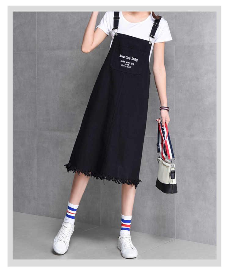 MISSFEBPLUM джинсовое платье вышитая подвеска с буквами для женщин 2018 Лето Harajuku милый ремень джинсовые платья Сарафан джинсовые комбинезоны