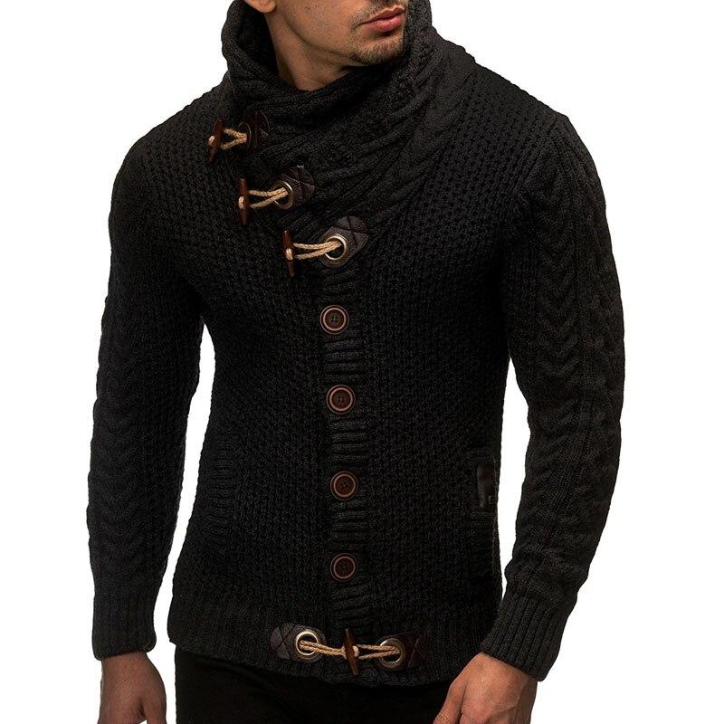 Suéter Cardigan hombres 2018 marca Casual suéteres delgados hombres cuernos hebilla gruesa cuello alto hombres suéter XXL