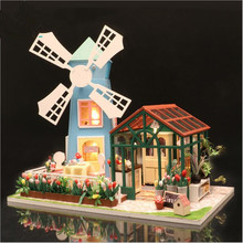 CuteFamilies House DIY Doll Windmill flower house Miniature dollhouse Accessory Toys for Children Juguete Brinquedos