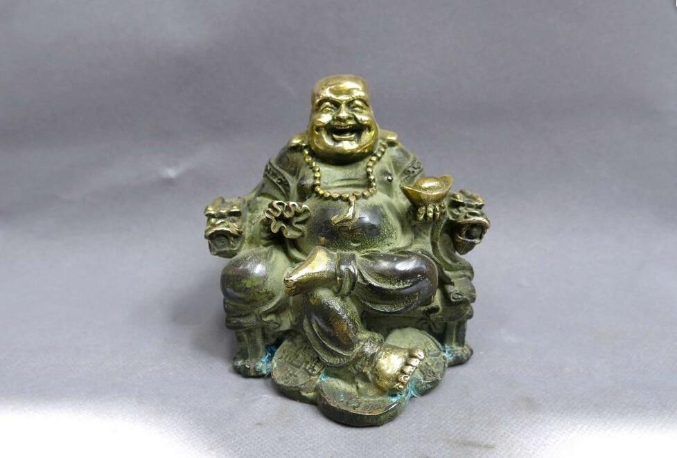 China bronze gild copper carved beautiful dragon good luck happy buddha Statue buddha necklace buddha statue thailand buddha sculpture - title=