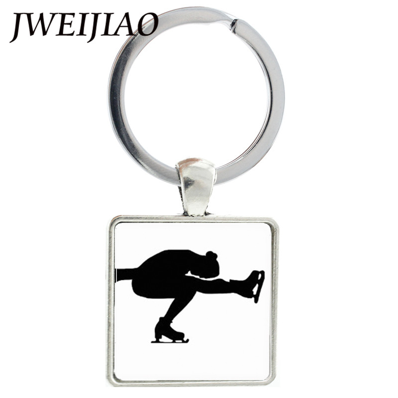 JWEIJIAO Custom Single Figure Skating Figure Clip Art Key Chain Keyring Ice Skate Key Ri ...