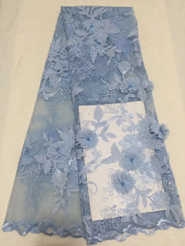 5 Yard Blue Fashion 3D Beaded Flower French Lace Fabric High Quality Embroidered Net Lace Fabric For Wedding Dress Decoration