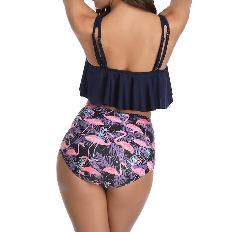HTB1DiWiX8WD3KVjSZKPq6yp7FXa7 High Waist Swimsuit 2019 Sexy Bikinis Women Swimwear Ruffle Vintage Bandeau Striped Bottom Bikini Set Bathing Suits