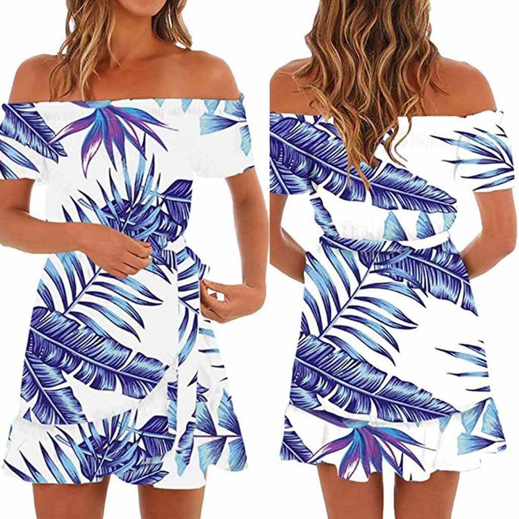 515fb052b2 Wholesale Womens Hawaiian Dresses Off The Shoulder Floral Short Sleeve Summer  Beach Dress Vestido summer Harajuku #by