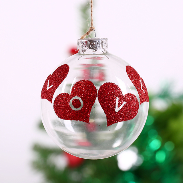 Wedding Glass Bauble Ornament Christams Decoration Ball/Red Heart Love  /Valentines Day Anniversary Favor