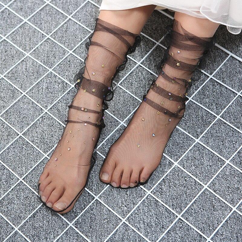 New Glitter Mesh Rhinestones Stars Women Socks Fashion Short Socks Harajuku Soft Ladies Funny Socks Transparent Elastic Hosiery