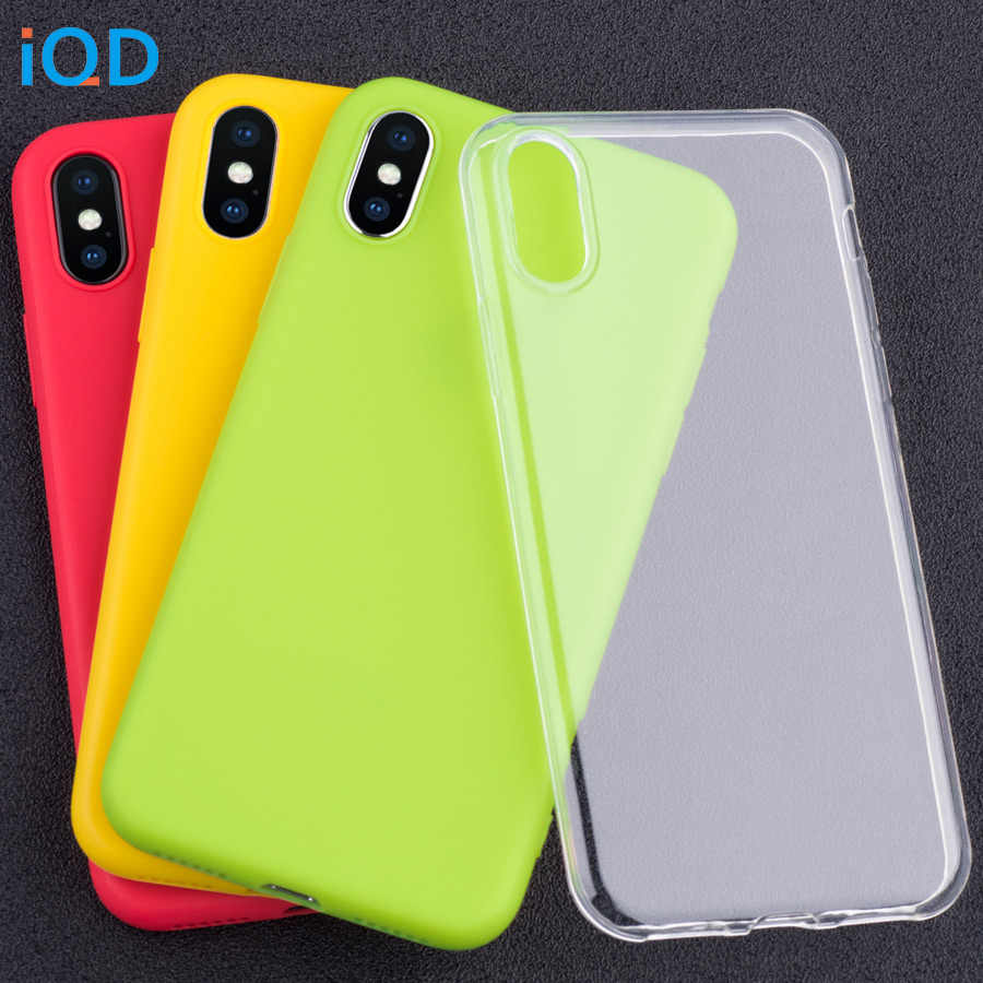 buy popular f2c15 14d67 IQD Clear for iphone 7 6 8 6s Plus X Case Soft Flexible for iphone xs max  xr Case Slim Color tpu transparent 5s se Thin light