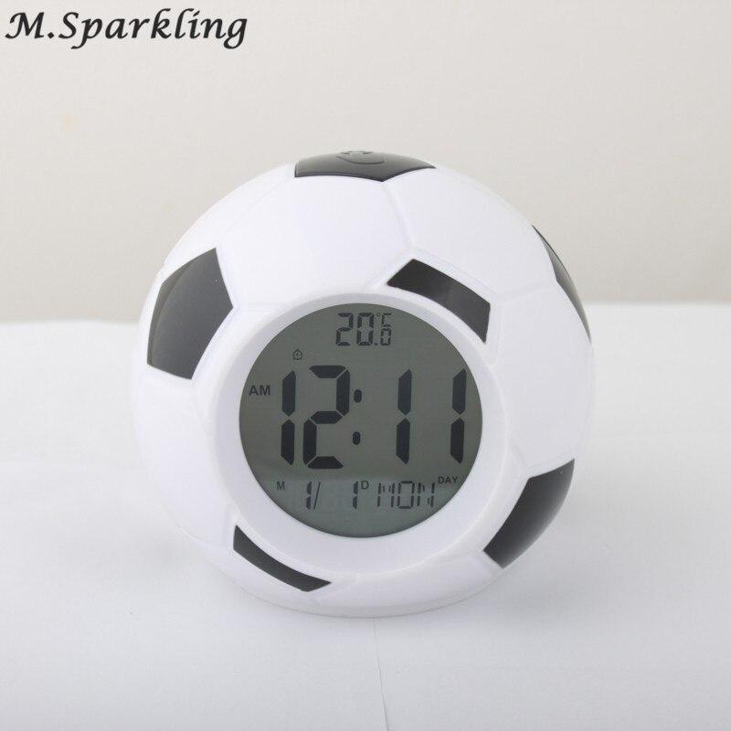 Digital Temperature LED Display Alarm Clock Sounds Control Football Soccer Alarm Clock Repeating Snooze Home Decor Desktop Clock