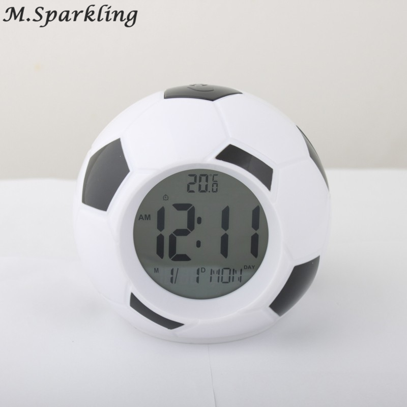 Digital Temperature LED Display Alarm Clock Sounds Control Football Soccer Alarm Clock Repeating Snooze Home Decor Desktop Clock
