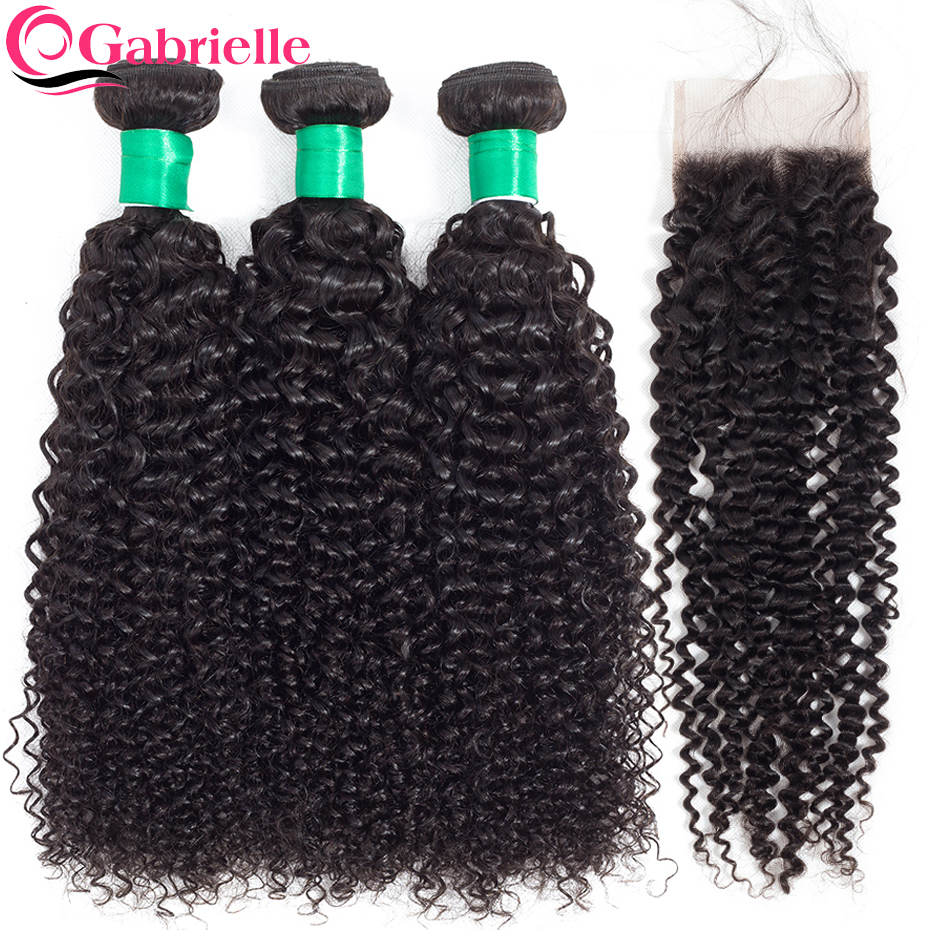 Gabrielle Malaysian Kinky Curly 3 Bundles with Closure Free Middle Three Part 100 Non Remy Human