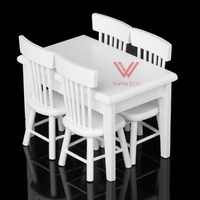 oMoToys 1:12 Scale Dining Table Chair Set Dollhouse Wooden Miniature Furniture , 1 table with 4 chairs Paintable