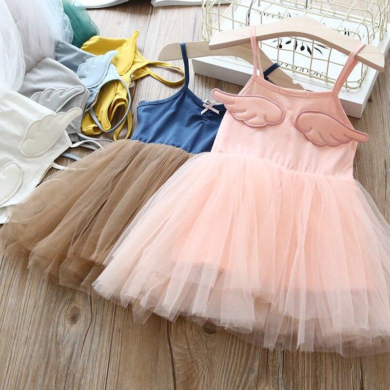 2018 Children Dress Wing Baby Girls Sling Ball Dresses Cotton Mesh Vest Ballet Tutu Dress Summer Girl Party Vestidos 2-8Years цена