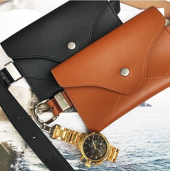 Fashion Travel Waist Pack Luxury Design Fanny Packs Small Women Waist Bag Phone Pouch Punk Belt Bag Purse black PU leather belts
