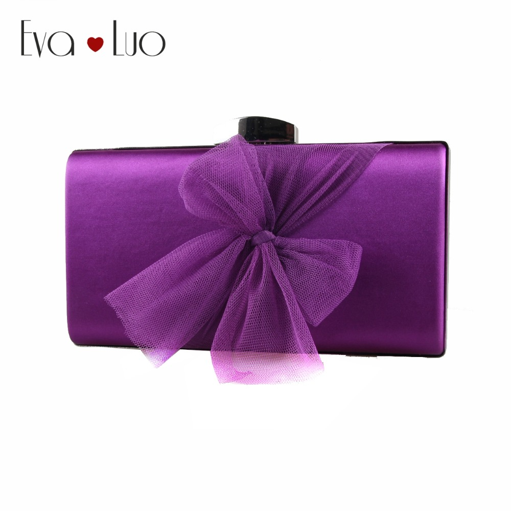 EB962 Custom Made Purple Satin and Tulle Bow Evening Bag Clutch Bags Clutches Lady Wedding Purse