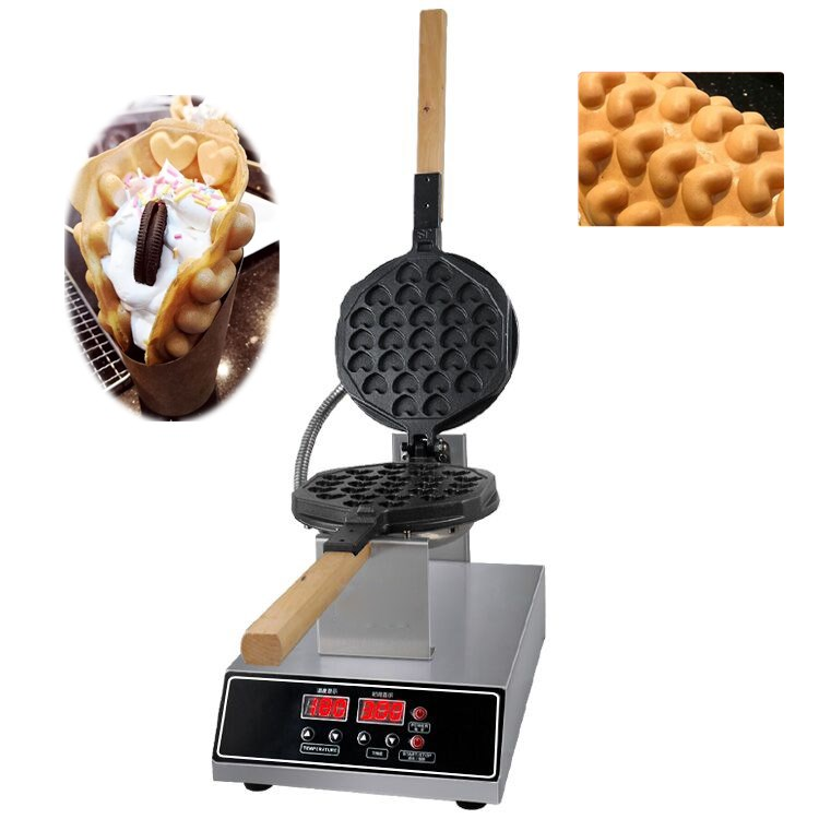Rotary Nonstick Electric Egg Waffle Baker Bubble Waffle Maker Iron w// Dispenser