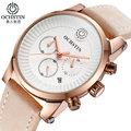 Ochstin top de relógios de luxo homens marca cronógrafo dos homens relógios militar assista pulseira de couro quartz relógio de pulso dos esportes da forma ocasional