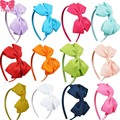 11COLORS Lovely Girls Hairband Solid Ribbon Hairbow Hair Bands For Baby Ribbon Band Kids Hair Accessories 3PCS/lot CNHB-1307282