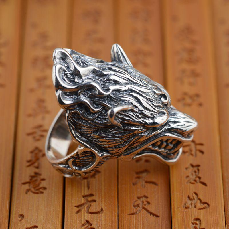 S925 vente en gros bague en argent sterling antique loup en argent style rétro unique cadeau de style masculin