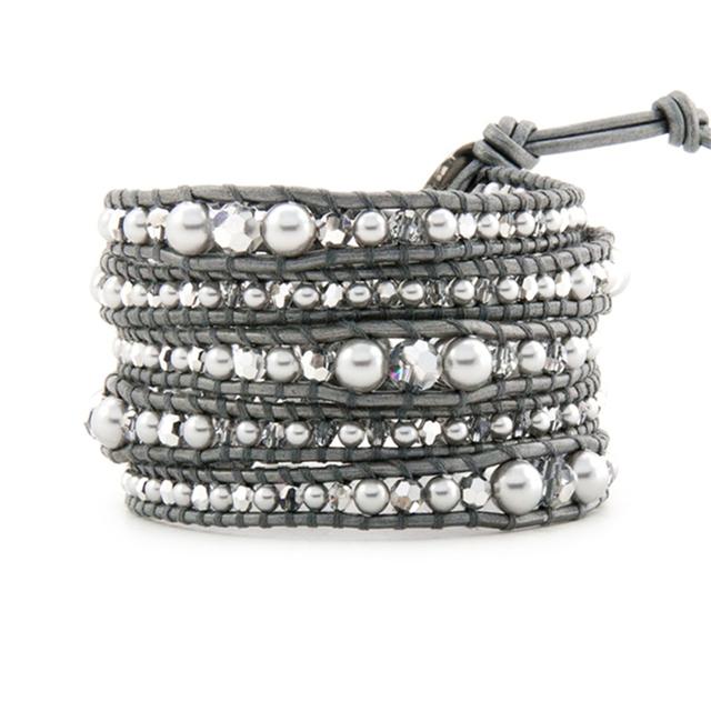 Kelitch Joyería de Lujo Silver Pearl & AB Cuentas de Cristal En Gris de Cuero Multicapas Wrap Pulseras de La Amistad Para Las Mujeres Bijoux