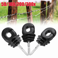 50 PCS 4'' Screw In Electric Fence Wood timber Post Insulators Tape Cord Wire