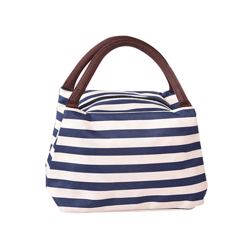 Portable Lunch Bag Leisure Stripe Cooler Bag Thermal Insulation Bags Travel Picnic Food Lunch box bag Tote for Women Girls Kids