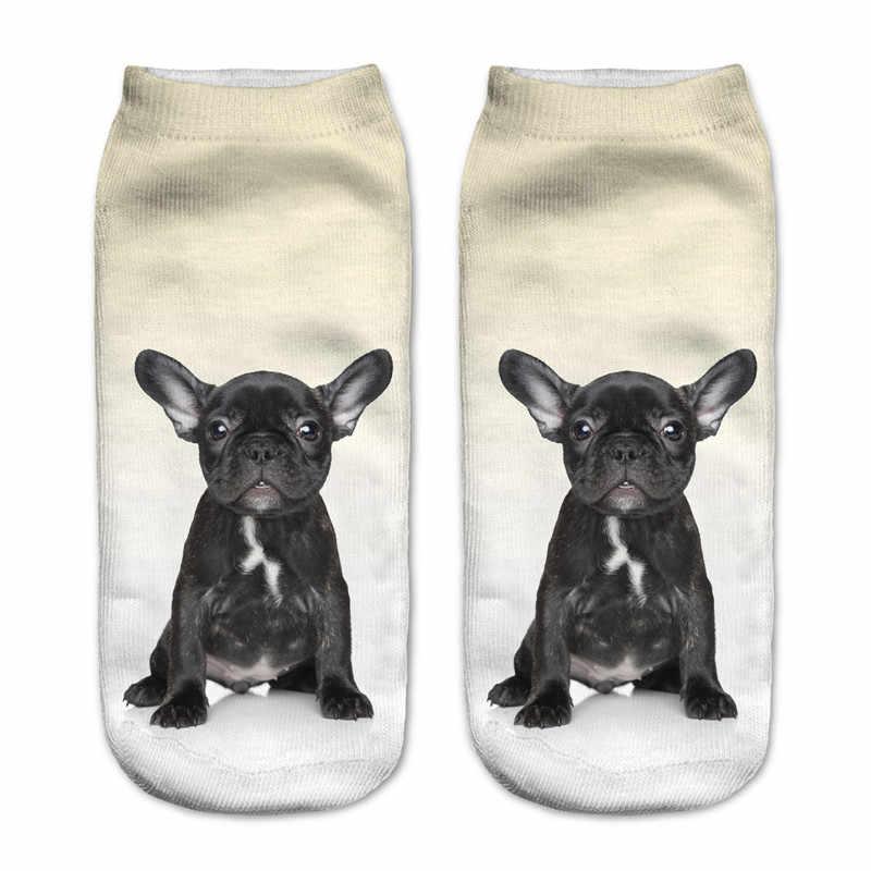 Лидер продаж, 1 пара, 3D милые носки для собак с бульдогом, новые мужские носки унисекс с низким вырезом, хлопковые Повседневные носки