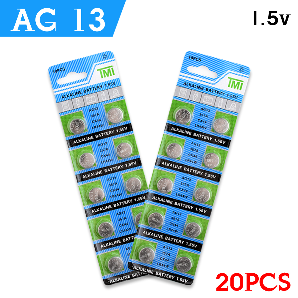 YCDC 20pcs AG13 Lowest Price 1 5VBattery LR44 L1154 RW82 RW42 SR1154 SP76 A76 357A ag13