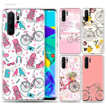 Bicycle And Floewrs Case for Huawei P20 P30 P Smart Z Plus 2019 P10 P9 P8 Mate 10 20 lite Pro Silicone Phone Bags Bumper Capa(China)