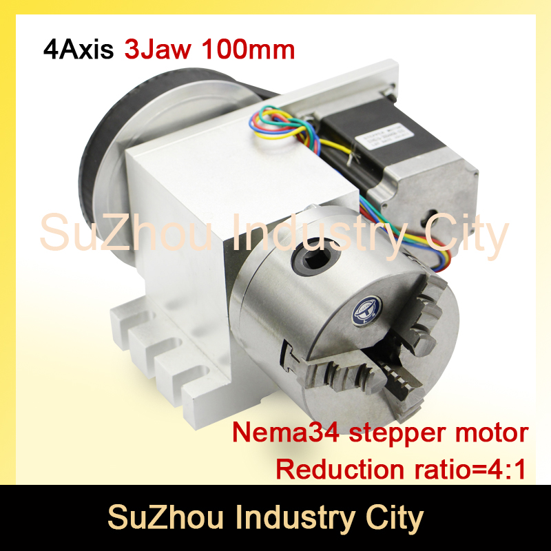 цена на 3 Jaw 100mm chuck 4th Axis CNC dividing head/Rotation 4:1 with Nema34 for Mini CNC router/engraver woodworking engraving machine