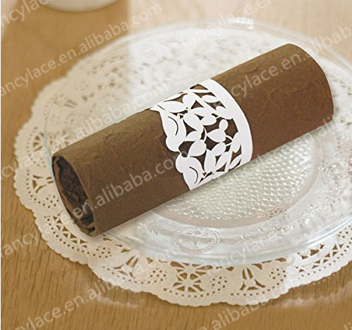 50pcs Laser Cut Napkin Rings Flower Leaves Paper Craft Rings Party