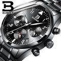 Suíça Binger Relógio marca popular Dos Homens relógios chronograph esporte data número de moda relógio de quartzo relógios de pulso preto