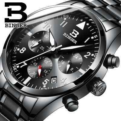 Switzerland Binger Watch popular brand Men watches chronograph sport fashion number date quartz clock black wristwatches wireless service call bell system popular in restaurant ce passed 433 92mhz full equipment watch pager 1 watch 7 call button